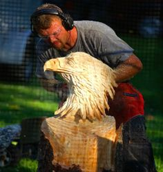 Live Chainsaw Carving Shows Entertainment Fairs Events Performance Eagle Exciting Sculpture Wood