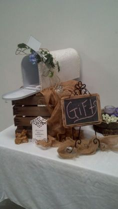 Crate, chalkboard and mailbox for cards