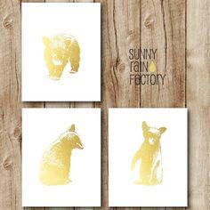 nursery set download, bear printable, gold nursery, woodland kids art, gender neutral nursery, set of 3 prints digital download, gold bear