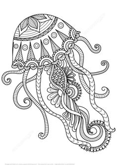 Jellyfish Zentangle coloring page from Zentangle category. Select from 21162…