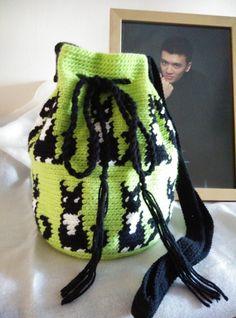 Crochet Lime Green Sling/Cross Body Bag. Tuxedo by RainbowKnit