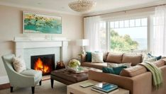 House of Turquoise: The waterside home was designed by the Boston interior design firm LeBlanc Design and captured beautifully by photographer Eric Roth. The dreamy sea-inspired color palette, beautiful fabrics, coastal touches, . Living Room Colors, New Living Room, Home And Living, Living Room Designs, Living Room Decor, Coastal Living, Cozy Living, Home Design, Design Ideas