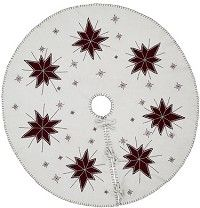"Finish off your Christmas tree with our North Star Felt Tree Skirt 48""!  This gorgeous tree skirt features 7 8 points stars in deep red on a creme felted background!  http://www.primitivestarquiltshop.com/North-Star-Felt-Tree-Skirt-48_p_8866.html"