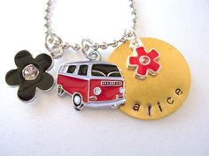 Personalized Volkswagon Bus Charm Necklace, VW Charm Necklace Charm Jewelry, Flower Charm Necklace. $19.00, via Etsy.