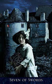 The Bohemian Gothic Tarot by Karen Mahony - Seven of Swords