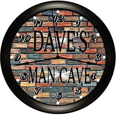 Personalized MAN CAVE Wall Clocks Custom Made For That Special Man's Favorite Hangout By Simply Southern Gift.