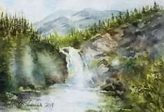 "Soft Spray of Running Eagle Falls, Watercolor on 300 lb. paper, 5"" x 7"" unframed. – Christy Sheeler, Montana watercolor artist, inspired by nature daily.  This breathtaking view is found in Glacier National Park in Montana.  Also known as ""Trick Falls"" because later in the season when the flow is less, the falls emerge from midway through the rock.  Pin now and shop later!  Inspiring views to bring calm and serenity to any space.  Home decor to add to your favorite spaces."
