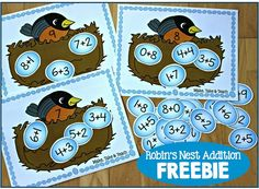 Fun FREEBIE for practicing addition facts to An adorable math center for kindergarten or grade one Preschool Math, Kindergarten Math, Teaching Math, Math Activities, Kindergarten Classroom, Addition Games For Kindergarten, Math Addition, Addition And Subtraction, Addition Facts