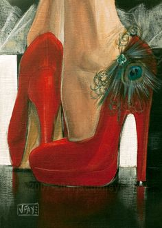 Contemporary paintings by artist Jacqui Faye specializing in figurative works in acrylics on canvas. Best known for her Red Shoe Dailies and Red Shoe art series. Silhouette Mode, Illustration Mode, Shoe Art, Painted Shoes, Shades Of Red, Red Shoes, Lady In Red, Fashion Art, Portraits