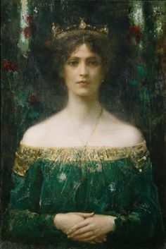 Eduard Veith - The King's Daughter - 1902 #CureTrudon #Art #sage #green #painting #woman #portrait