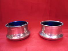 Pair Of Silver Plated And Blue Glass Pots/Tealight Holders by VintageRetroTreasues on Etsy