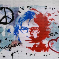 Imagine there's no heaven... There's a lot of love in this piece. How could you not love John Lennon? The original painting is already sold, but there are prints available.  Limited edition prints on high quality photographic paper, size A2, signed/numbered...£30.00.  #art #painting #popart #johnlennon #imagine #peace #love #yokoono