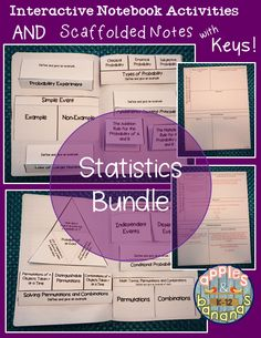 High school statistics bundle - includes interactive notebook activities and scaffolded notes with teacher answer keys.  Great for keeping all students engaged.  Units of study include Introduction to Statistics, Descriptive Statistics, Probability, Discrete Probability Distributions, Normal Probability Distributions, Confidence Intervals, Hypothesis Testing with One Sample. #statistics #inb #scaffoldednotes