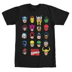 Heads - Pick your favorite Marvel character to save the day with the Marvel Hero Portrait Bingo Black T-Shirt! This black Marvel shirt has all of your most beloved Marvel heroes like Spider-Man, the Hulk, Thor, and Iron Man.