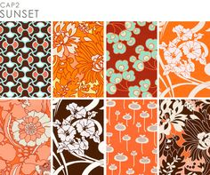 Love the Orange Fabrics... Could be a fun accent for the baby room!! Amy Butler orange fabrics