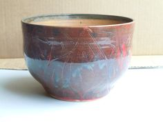 Hand Made Hand Thrown Hand Carved Wheel Thrown Pottery Bowl Ceramic Bowl Rustic Bowl Red and Tan Bowl Serving Bowl Decorative Bowl