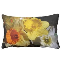 """Daffodil Threesome"" pillow, design by Kay Novy, kkphoto1  http://www.zazzle.co.uk/daffodil_threesome_throw_pillow-189248509366318251"