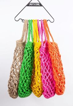 Make your own String Bag kit- From Nutscene- Jute String Eco bag - Crochet ECO Hessian Bags, Jute Bags, Crochet Hooks, Knit Crochet, Crochet Bags, Make Your Own, Make It Yourself, How To Make, Jute Crafts