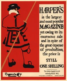 ENGLAND: Beggarstaffs, poster fro Harper's, 1895. Incomplete shapes created implied lines that engaged viewers while they deciphered the image.