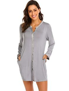 c60e9036ee Ekouaer Women Nightgown Button Front Boyfriend Sleep Shirt Pajamas Lounge  Sleepwear