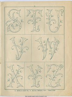 Free Easy Cross, Pattern Maker, PCStitch Charts + Free Historic Old Pattern Books: Sajou No 342 Embroidery Alphabet, Embroidery Monogram, Crewel Embroidery, Ribbon Embroidery, Embroidery Designs, Monogram Design, Monogram Fonts, Monogram Letters, Alphabet Design
