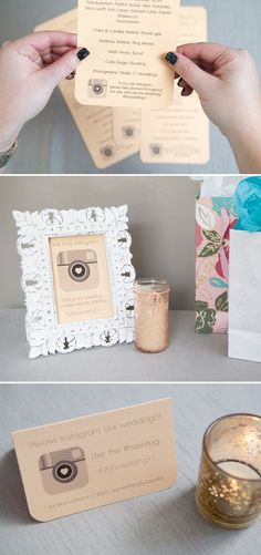 DIY - Four easy ways to ask your guests to  their Instagrams of your wedding! Free Downloads!