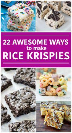 22 Awesome Ways to Make Rice Krispie Treats - Sweet Treats & Salty Snacks - Rice Recipes Köstliche Desserts, Delicious Desserts, Dessert Recipes, Yummy Food, Kid Recipes, Fudge Recipes, Candy Recipes, Yummy Yummy, Fun Food