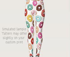 0cd62d90d8580e Donut Leggings, Custom Printed, Stretchy Spandex, Yoga Pant, Full Length,  Doughnut, Sweets, Icing, Bakery, Baker, Pants XS-XL-Donuts 1