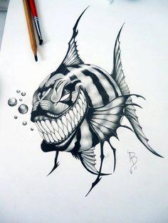 alan barbosa piranha by alanbarbosatattoo on DeviantArt Fish Drawings, Art Drawings Sketches, Cool Drawings, Tattoo Drawings, Body Art Tattoos, Pencil Drawings, Sleeve Tattoos, Creepy Sketches, Skull Tatto