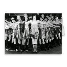 Welcome To The Team - Greeting Card.  Change out the text on the card using this vintage troupe scene template. http://www.zazzle.com/welcome_to_the_team_greeting_card-137389708736863060 #greetincard #card #vintage #humor #humour