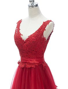 Formal Evening Dress A-line V-neck Floor-length Lace/Tulle Dress More Color – USD $ 138.99