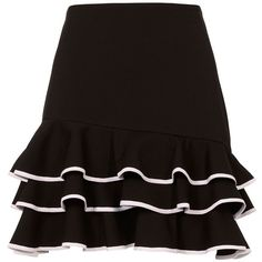 Jonathan Simkhai Women's Tiered Ruffle Mini Skirt ($425) ❤ liked on Polyvore featuring skirts, mini skirts, bottoms, black, mini skirt, short frilly skirts, frilly skirt, tiered skirt and ruffled skirts