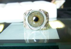 Wire Wrapped Human Glass Eyeball Ring by SteinGemJewelry on Etsy, $149.95