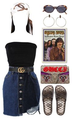 A fashion look from September 2017 featuring Laneus, denim mini skirt and flat sandals. Browse and shop related looks. Teen Fashion Outfits, Mode Outfits, Chic Outfits, Trendy Outfits, Summer Outfits, Girl Outfits, Womens Fashion, Peach Outfits, Fashion Tips