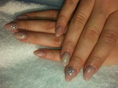 UV gel nails w/ glitters and rhinestones