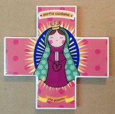 Cruz Infantil Virgen Guadalupe Mensaje 13x13 cms.