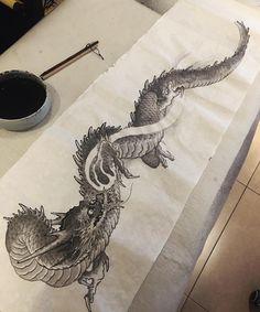 Japanese Tatoo, Japanese Dragon Tattoos, Japanese Art, Asian Tattoos, Arabic Tattoos, Tattoo Samples, Dragon Sleeve Tattoos, Japan Tattoo, Dragon Tattoo Designs