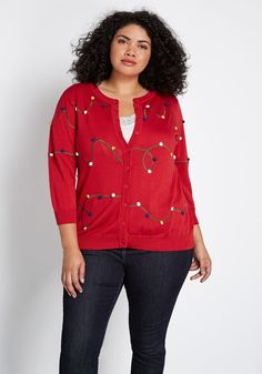 Your style is a master class in moxie, especially when you flaunt this red cardigan! Featuring colorful pom-pom embroidery reminiscent of Christmas lights, three-quarter length sleeves, and a soft knit, this festive piece from our ModCloth label offers an Red Cardigan, Short Sleeve Cardigan, Cotton Cardigan, Plus Size Cardigans, Party Looks, Modcloth, Plus Size Fashion, Sweaters For Women, Sleeves
