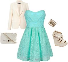 baby blue dress with cream accessories