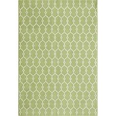 $114 at Overstock.  Momeni Baja Green Indoor/Outdoor Area Rug; 6'7'' x 9'6''