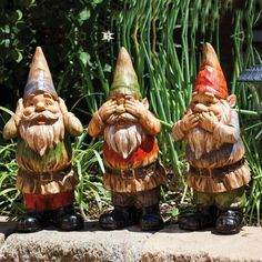 This Three Piece Wise Garden Gnome Figurine Set By Evergreen Is Perfect