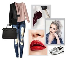 """""""Sem título #459"""" by priscilla14ster ❤ liked on Polyvore featuring Burberry, J Brand, nails, ootd, destroyed and carmim"""