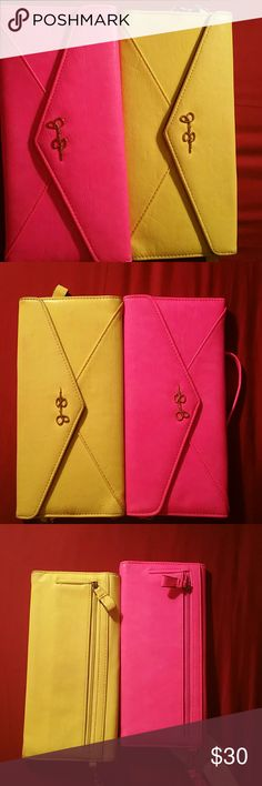 Jessica Simpson wristlets Neon pink and Neon yellow Jessica Simpson wristlets (the neon yellow has slightly been used, and the neon pink is NWT). Bags Clutches & Wristlets