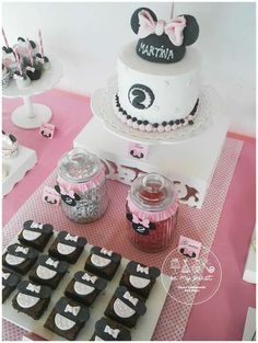 Fondant topped brownies at a Minnie Mouse birthday party! See more party ideas at CatchMyParty.com!