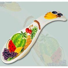 ABCHomeCollection Fruit Paradise Decorative Ceramic 3D Spoon Rest/Trivet