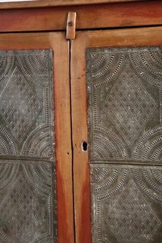 Antique Primitive Pie Safe Jelly Cabinet Punched Tin Panel