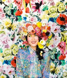 Delightfully colorful floral headpiece | | Floral design by Ivanka Matsuba | Styling by Anna Korkobcova | Photo by Zack Pianko | Hair and makeup by Katie Nash
