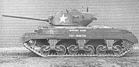 T20.  The US started searching for the successor to the M4 in 1942.  The T20 series  experimented with different transmissions, suspensions, and armaments.  The eventual M27 had a better gun and lower silhouette than the M4, but was not adopted as the M4 still performed adequately, and the army did not want to disrupt production.  The project eventually led to both the M26 Pershing and the M24 Chaffee.