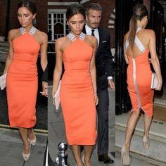 Vestido Slim  Laranja com Ziper Victoria Beckham