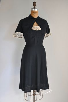 1940s black lace linen dress